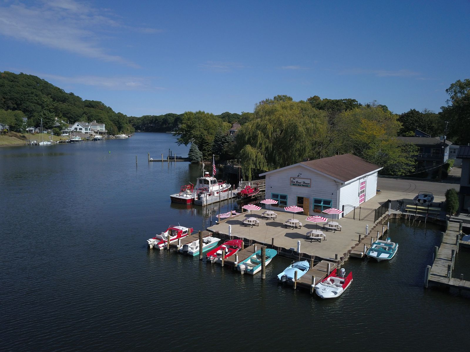 The Old Boat House & Retro Boat Rentals From over the Kalamazoo River
